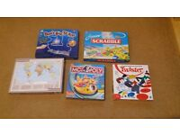 5 BOARD GAMES - Jnr Monopoly / Scrabble, Twister, Don't Buzz the Wire, World Map