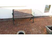 Wrought iron Garden seat with wooden slats, hand made, needs a bit of a paint up