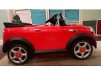 Mini Cooper S 6V battery operated ride on car in red with remote control