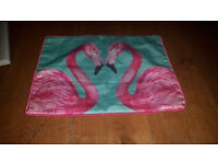 Flamingo Flamingos Heart Cushion Cover Pillow Case Pink Turquoise Chevron Pattern