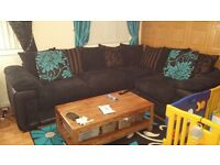 5 seater black corner sofa cord/leather