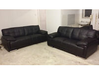 NEW Black Real Leather 2 + 3 Seater Sofa Suite Free Local Delivery