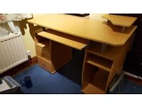 Computer desk with shelves, cupboard & drawers