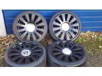 "18"" 5x100 5x112 Audi RS8 S8 Alloy wheels black vw seat skoda golf a3 a4 Leon."