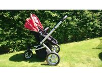 MY3 mothercare pram/pushchair with 3 wheels - red