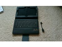 Bluetooth keyboard, black tablet case with kickstand & USB to micro USB adaptor