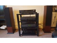 Arcam amp, cd player, digital radio, AE109 speakers and hi-fi stand.