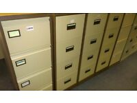 5 - 4 DRAWER FILING CABINETS IN COFFEE & CREAM - GOOD CONDITION