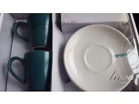 Espresso set BNIB. Teal 2 piece espresso set