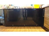 22 Black Gloss and Wood Effect Kitchen Units & Cupboards with Granite Worktop