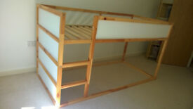 Ikea KURA Reversible bed with green bed tent and mattress