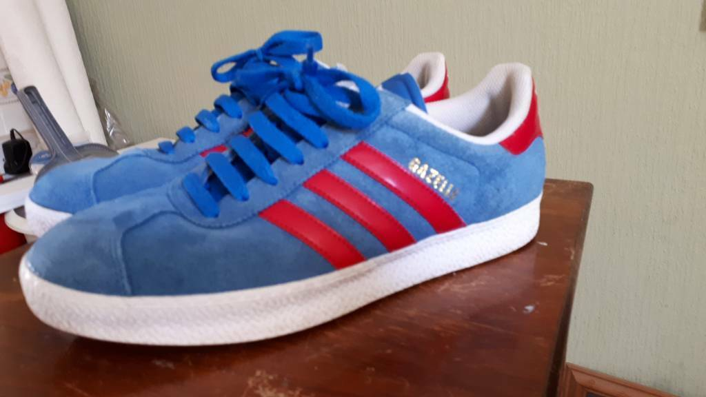 Adidas Gazelle Blue and Red suede trainers size 8  c91d350d9aeb