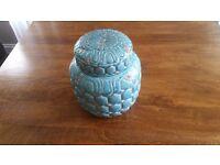 Ornamental Ceramic Urn Pot Duck Egg Duckegg Teal Turquoise Green Blue