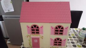 Wooden Playhouse with figures and furniture
