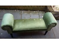A small velvet green bench v.g.c buyer collects