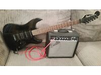 Fender Squier Showmaster Electric Guitar with Fender Frontman Amp 15 watt with appropriate cables