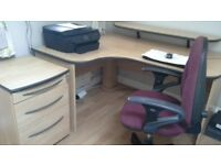 Office large corner desk chair and small filing cabinet
