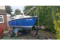 Hurley Silhouette mk2 twin keel yacht with trailer and motor, tow away project