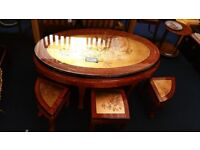 Small Table with 6 Chairs Wooden with Glass Top