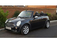 2007/07 Reg Mini One Convertible (SAT NAV) + LEATHER + FSH + BLACK + ELECTRIC HOOD + HIGH SPEC
