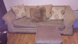 3 seater sofa with pufe