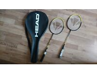Badminton set of two CARLTON rockets and HEAD bag
