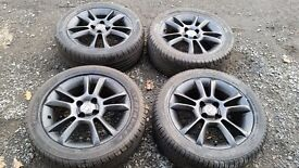 "Genuine Corsa D SXI Alloys Black 16"" With Excellent Tyres - Fits all 4 Stud Vauxhall"