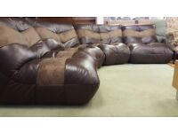 Brown Leather & Suede Corner Sofa In Great Condition