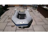 INFLATABLE DINGHY 230 , 2.3M SOLID OUTBOARD TRANSOM WOOD SLAT FLOOR , DINGY TENDER RIB SIB BOAT