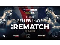 BELLEW VS HAYE Ringside seats 5 rows back row e