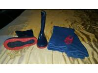 Size 11 blue wellies brand new and spider man tracky bottoms