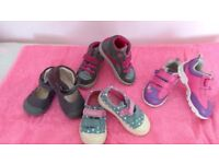Clarks; girls trainers and shoe boot, size 31/2G 41/2F , 4G ,41/2 F sturdy and pretty colours.
