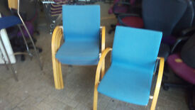 office profesional chair light blue conference with wooden arm meeting stacking