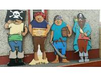 VERY LARGE PIRATE CUT OUTS X 4