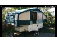 Conway folding camper, modified for electric hookup,watertight and easy set up.
