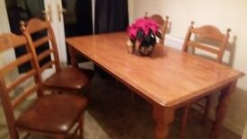 Dining room table and 4 chairs 5ftx3ft good condition but got a few minor marks