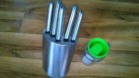 sm bundle lot kitchen items stainless steel block cutlery 1 liter glass jug storage jar £4 for all