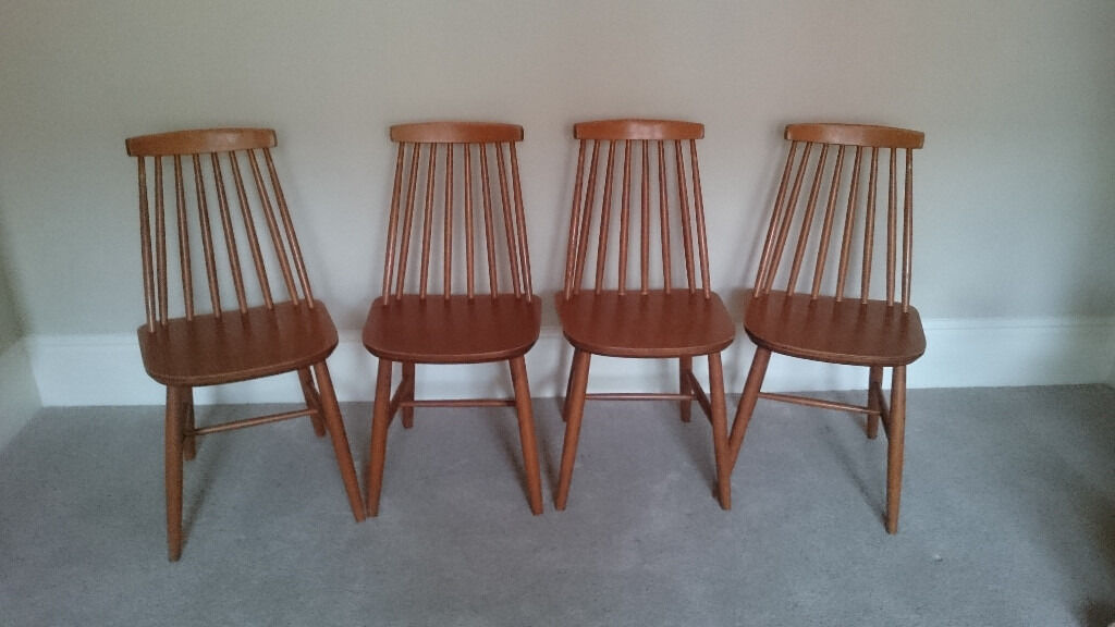 4 Mid Century Ercol Style Stick Back Dining Chairs In