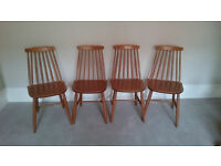 4 mid century Ercol-Style Stick Back Dining Chairs