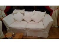 2 x three seater fabric sofas , good condition , cream colour