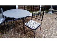 marble garden table and 4 chairs