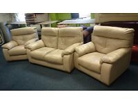 Cream leather two seater (154 cm) and two chairs suite