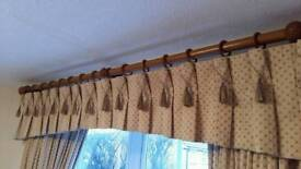 Gold, lined curtains