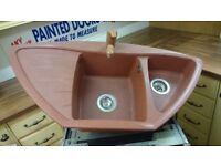 Granite sink & tap in terracotta