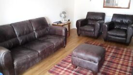 3 piece suite ( sofa, 2 armchairs and foot stool)