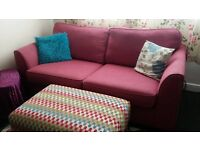 2 3 Seater Sofas, a foot stool and a coffee table