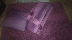 Curtains, tie backs, rug and cushion