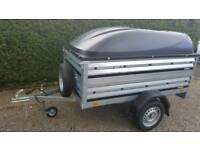 Brenderup Car trailer 1205s +extension sides+Abs lid-spare wheel included.