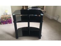 Black glass TV table, great condition