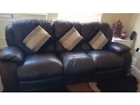 3 seater and 1 seater real leather recliner for sale